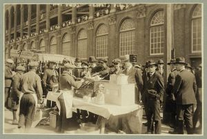 Hot dog vendor outside Ebbets Field, 1920