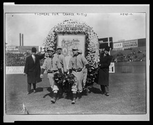 Frank Chance welcomed to Yankees with flowers